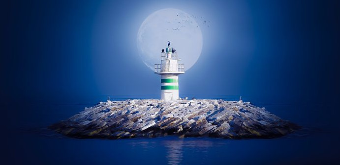 Graphic of a full moon behind a lighthouse